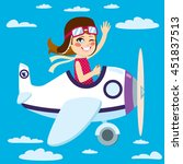 cute little girl flying a plane ... | Shutterstock .eps vector #451837513