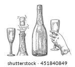 bottle of champagne explosion... | Shutterstock .eps vector #451840849