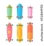 flat longboards collection with ... | Shutterstock .eps vector #451844950
