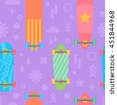 flat longboards seamless... | Shutterstock .eps vector #451844968