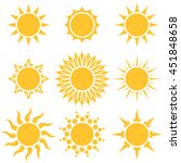 flat yellow sun cartoon shapes... | Shutterstock .eps vector #451848658