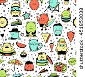 vector summer seamless pattern... | Shutterstock .eps vector #451853038