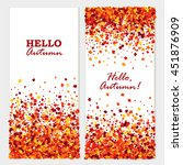 hello autumn banners with maple ... | Shutterstock .eps vector #451876909