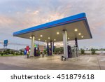 gas station at sunset. | Shutterstock . vector #451879618