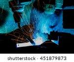 welding robots movement in a... | Shutterstock . vector #451879873