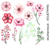 set of pink and red flowers ... | Shutterstock .eps vector #451879990
