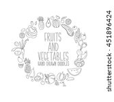 hand drawn vegetables doodle... | Shutterstock .eps vector #451896424