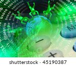 globe  mans and digits against... | Shutterstock . vector #45190387