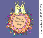 happy friendship day cute... | Shutterstock .eps vector #451921399