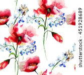 seamless pattern with spring... | Shutterstock . vector #451928689