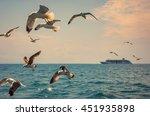 romantic sea voyage on cruise... | Shutterstock . vector #451935898