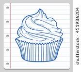 cupcake dessert notebook school ... | Shutterstock .eps vector #451936204