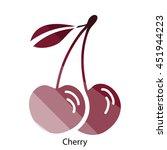 cherry icon. flat color design. ...