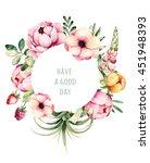 beautiful watercolor round...   Shutterstock . vector #451948393