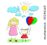 mother and daughter. | Shutterstock .eps vector #45196165