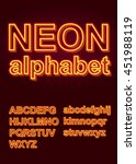 glowing neon alphabet for... | Shutterstock .eps vector #451988119