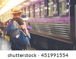 travelers are waiting for their ... | Shutterstock . vector #451991554