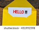 message hello on a white sheet... | Shutterstock . vector #451992598