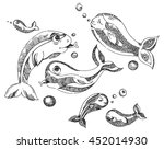 stylized fishes. ornamental... | Shutterstock .eps vector #452014930