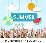 summer beach holiday vacation... | Shutterstock . vector #452015470