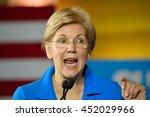 Small photo of CINCINNATI, OHIO, USA - JUNE 27, 2016: Senator Elizabeth Warren delivers a speech at a campaign rally for the presumptive democratic nominee at the Museum Center.