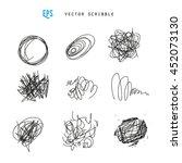 set of vector scribbles.... | Shutterstock .eps vector #452073130