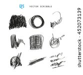 set of vector scribbles.... | Shutterstock .eps vector #452073139