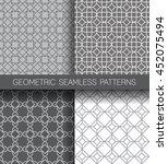 set of geometric seamless... | Shutterstock .eps vector #452075494