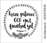 have patience god is not... | Shutterstock .eps vector #452076934