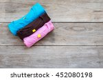 top view of color t shirt on... | Shutterstock . vector #452080198