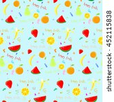 happy fruit pattern | Shutterstock .eps vector #452115838