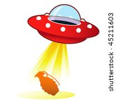 Hand grenade icon on retro flying saucer UFO with light beam.  Suitable for use on the web, in print, and on promotional materials. - stock vector