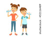 happy children drinking water.... | Shutterstock .eps vector #452116489