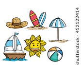 beach or summer elements with... | Shutterstock .eps vector #452122414