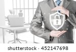 Small photo of Data protection and insurance. Concept of business security, safety of information from virus, crime and attack. Internet secure system. Office background.