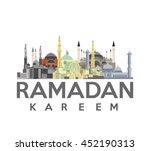 ramadan kareem calligraphy with ... | Shutterstock .eps vector #452190313