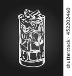 hand drawn glass with ice on... | Shutterstock .eps vector #452202460