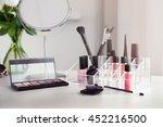 cosmetic set on light dressing...   Shutterstock . vector #452216500