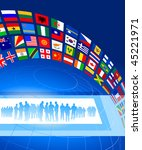 business team with flags banner ... | Shutterstock .eps vector #45221971