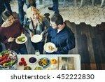 colleagues friends lunch dinner ... | Shutterstock . vector #452222830
