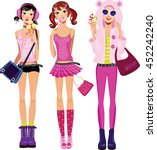 Teen Girls In Pink  Clothes...