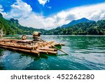raft on dam and bule sky   Shutterstock . vector #452262280