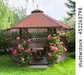 outdoor wooden gazebo with... | Shutterstock . vector #452263798