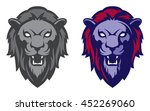 roaring lion head mascot. label.... | Shutterstock .eps vector #452269060