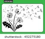 Stencil. Dandelion Background...