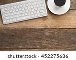 flat lay image of workplace  | Shutterstock . vector #452275636