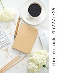 flat lay image of workplace    Shutterstock . vector #452275729