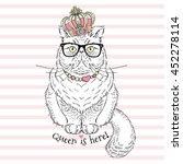 Persian Cat Queen  Hand Drawn...
