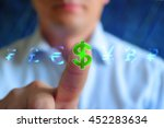 Stock photo currency sign concept background businessman touching currency sign dollar series currency sign 452283634