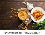 mushroom cream soup with... | Shutterstock . vector #452292874